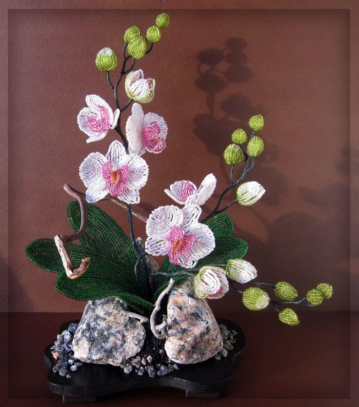 """Орхидея """"Нежность"""" из бисера"""