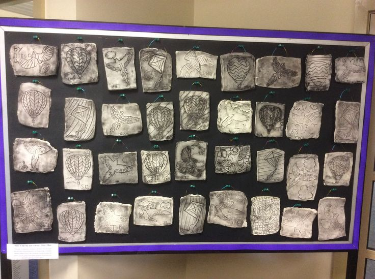 Year 4 Rustic tiles. The students etched their images out using a wooden skewer, then washed acrylic paint over the top.