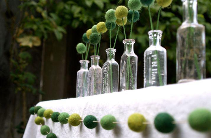 diy wedding reception ideas glass bottles with billy balls green yellow outdoor wedding