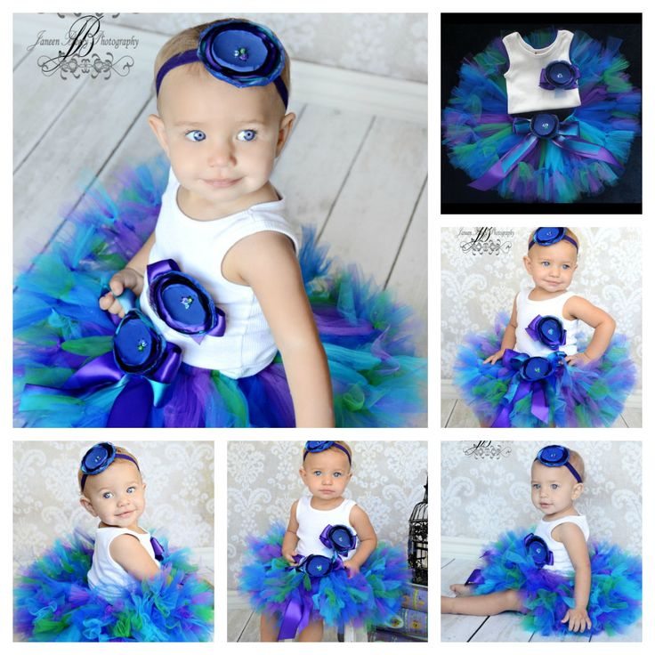 Peacock tutu for baby's first birthday portrait