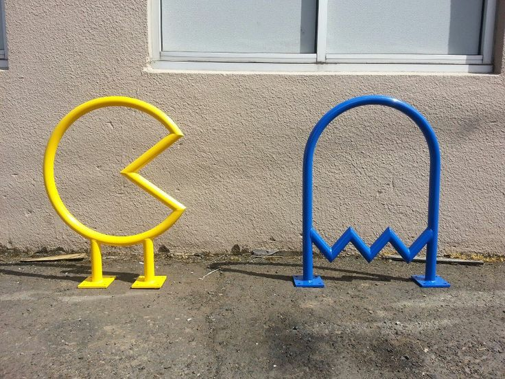 Pac-Man Bike Racks for the Coin Jam Arcade in Salem, Oregon