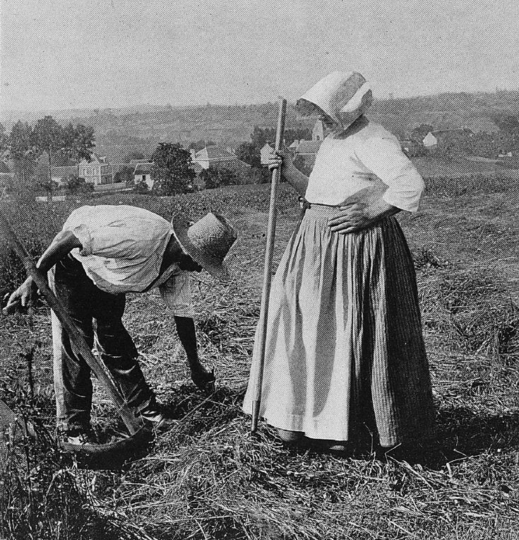 'Old mower and his wife'   Old images taken by renown American photographer Gertrude Käsebier in 1894 remember a long lost Normandy before machinery changed farming forever