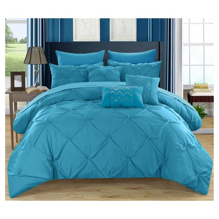 Valentina Pinch Pleated & Ruffled Comforter Set 10 Piece (Queen) Turquoise - Chic Home Design, Blue