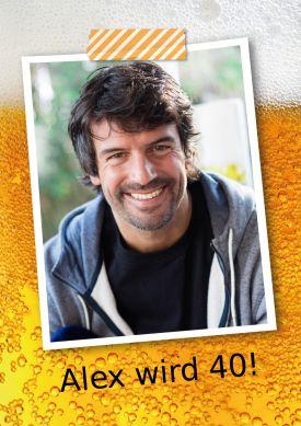 Witzige Geburtstags-Einladungskarte mit Foto für Bierliebhaber!