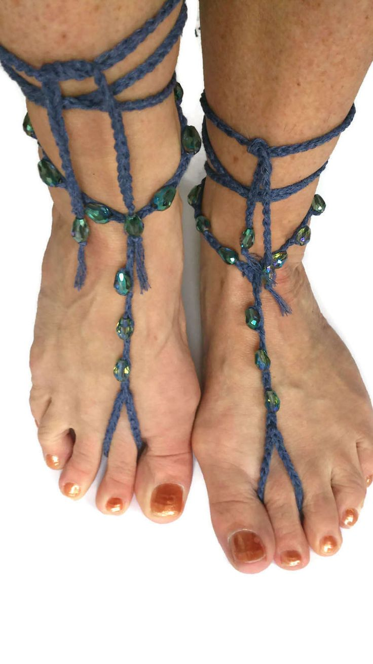 Denim Blue Barefoot sandals Shimmering Petrol  Beaded Crocheted Beach Yoga Festival Pool Slave anklet Crochet by thekittensmittensuk on Etsy