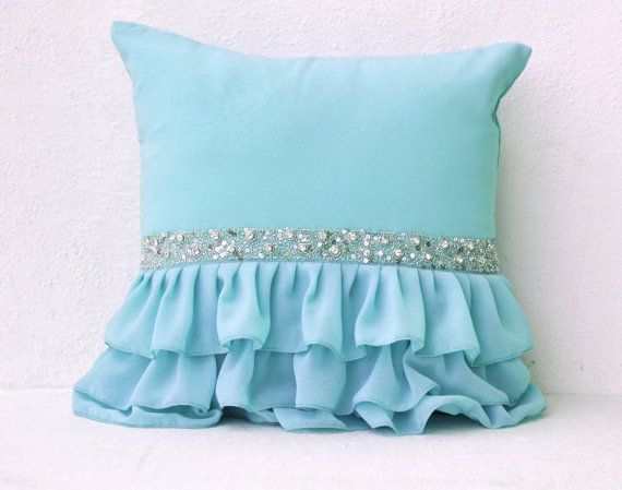 Sky blue ruffled decorative pillow with sequins - Light blue cushion cover - Gift pillows spring, summer- 16X16  Decorative Pillow