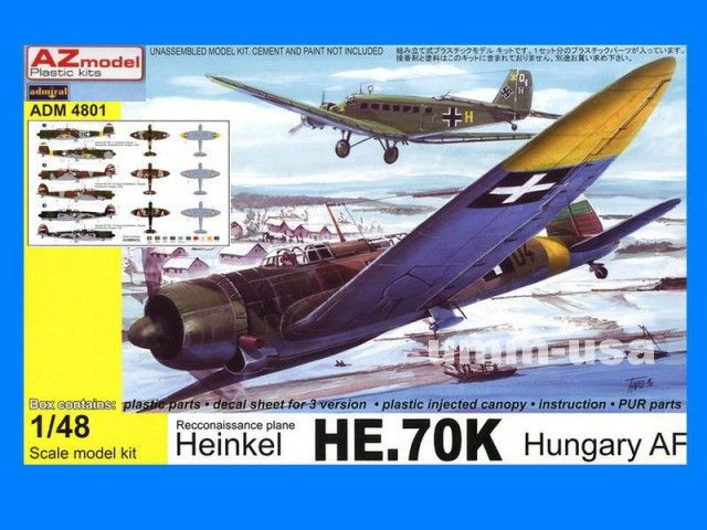 Heinkel He 70K, Hungary Air Force. Admiral, 1/48, No.4801. Price: 31,49 GBP (marketplace).