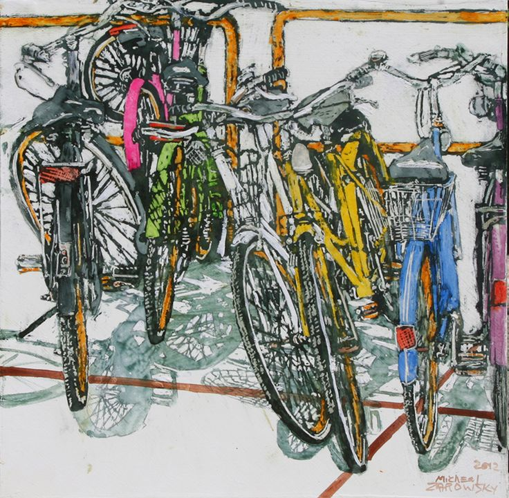 "lido bikes (74) 16"" x 16"" 1 3/4/""  micheal zarowsky / Mixed media (watercolour / acrylic painted directly on gessoed birch panel)  Available $500.00"