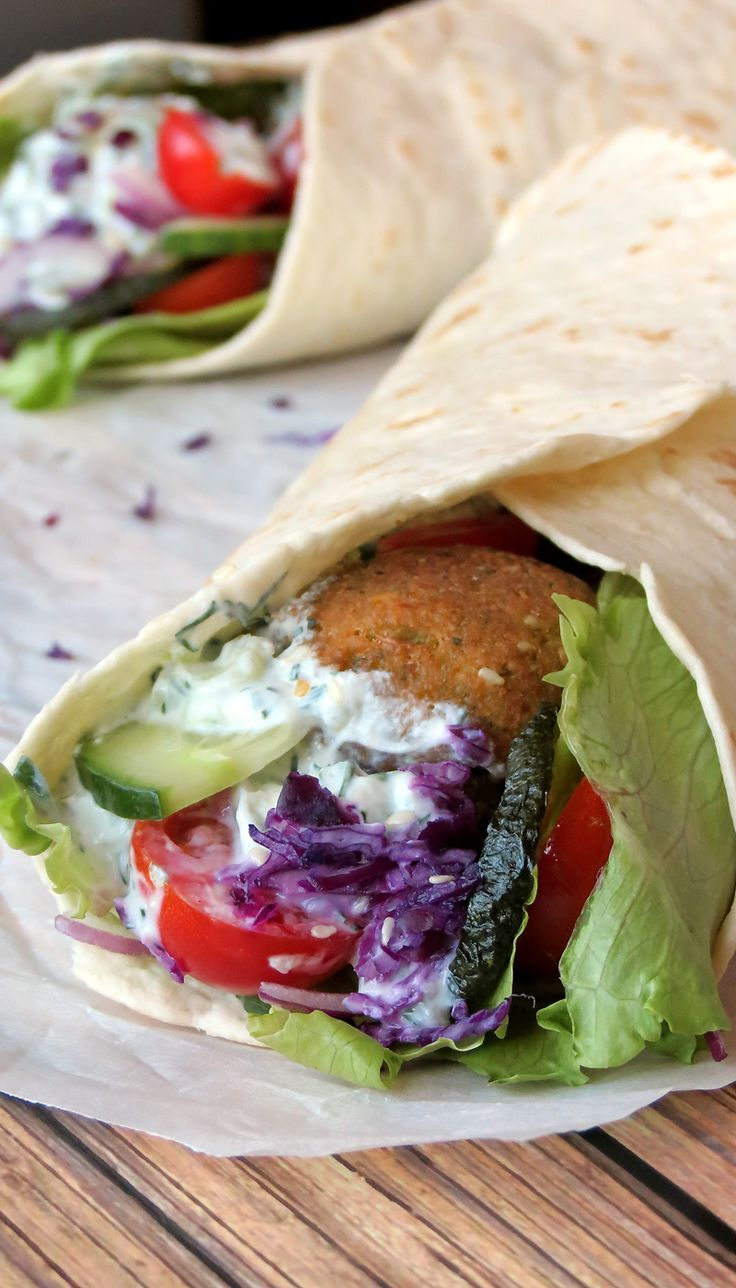 Falafel Wrap with Tzatziki Sauce | YummyAddiction.com