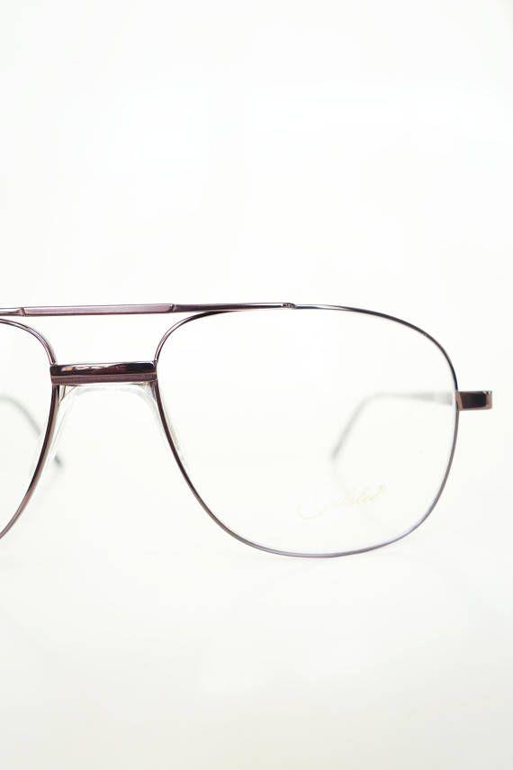 1980s Bronze Aviator Glasses Mens Eyeglasses Optical Frames Deadstock NOS New Old Stock 80s Eighties Metallic Copper Sunglasses Sunnies