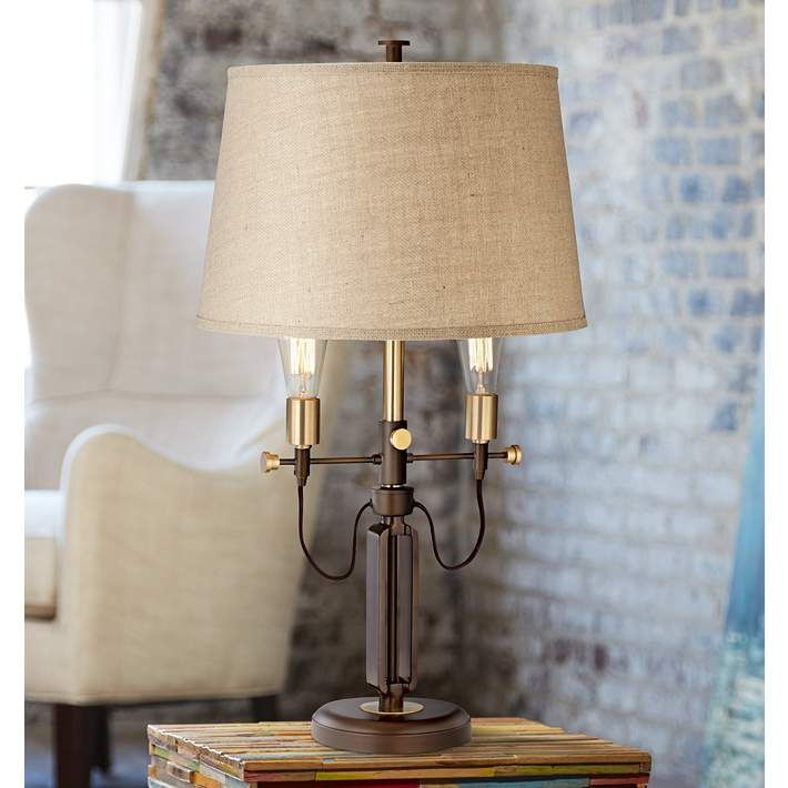 Franklin Iron Works Carter Adjustable 2 Arm Table Lamp Style