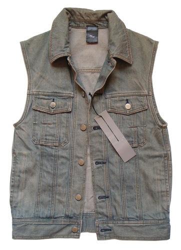 Rare DIOR HOMME Denim Gilet Jean Vest Mens 50 Jean Jacket