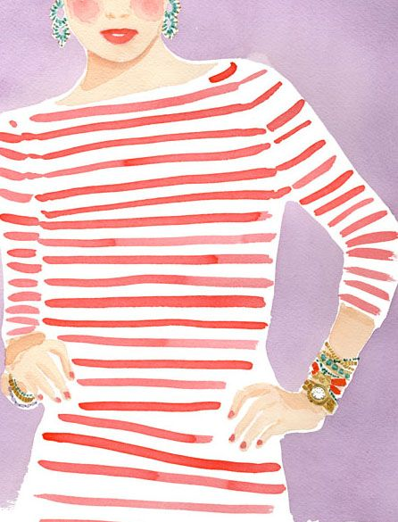 red stripes and statement accessories #bling