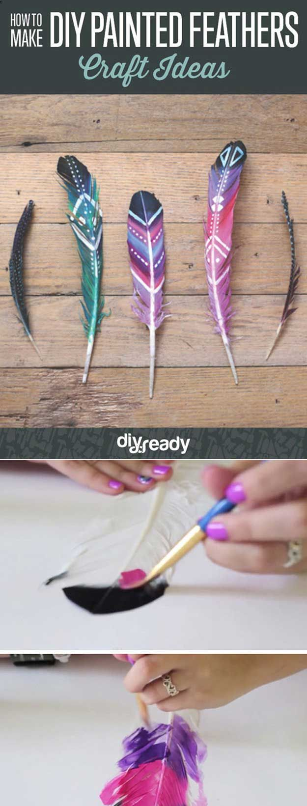 DIY Painted Feathers.  I LOVE this.  I would put this in a picture frame and glue the feathers on a white sheet of paper <3 great room decor!