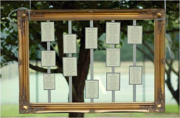 A huge part of going vintage is the chance to be different, this frame with suspended table lists looks fab, and is really unique especially with an outside wedding with the green scene behind.