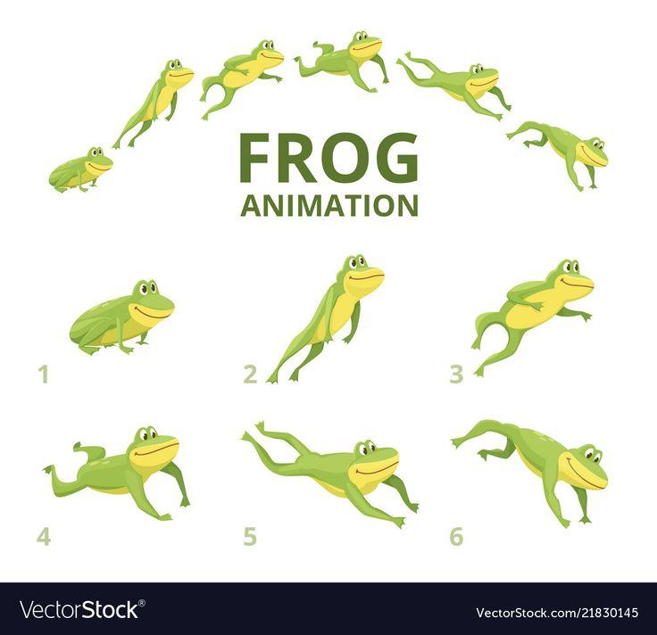 Frog jumping animation various keyframes vector image on ...