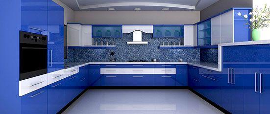 Oren Royal Blue Indian Parallel Kitchen Design | Oren Royal Blue Indian Parallel Kitchen Price Quotes on Sulekha.com Kitchen