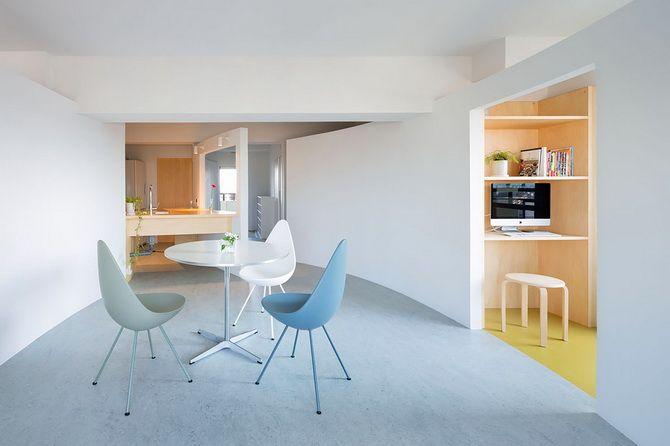 Обновление квартиры в Японии Проект реконструкции квартиры для женщины с двумя дочерьми реализовала фирма MAMM D...  #белый #планировка #светлыйинтерьер