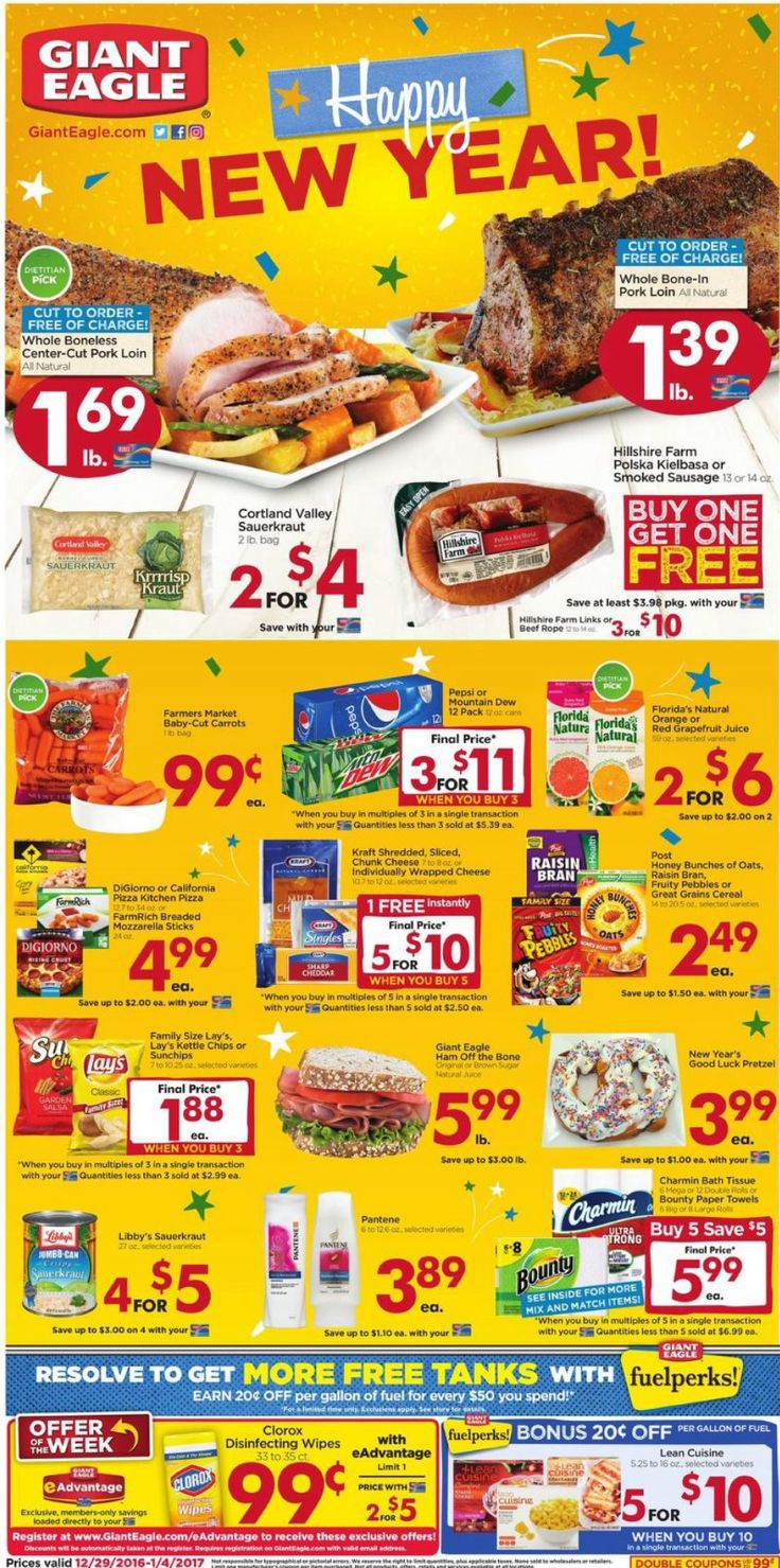 Giant Eagle Weekly Ad December 29 - January 4