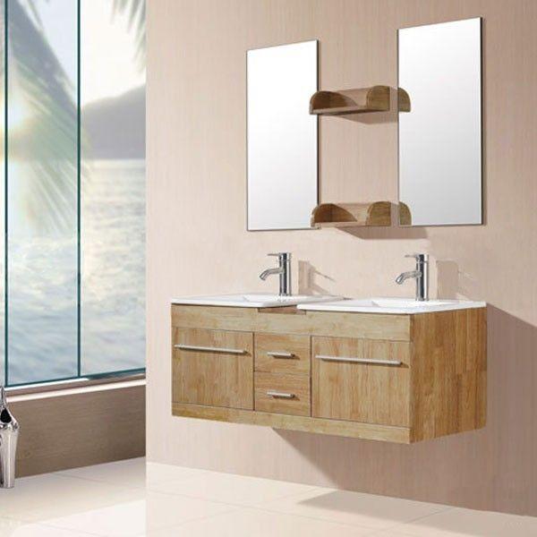 17 meilleures id es propos de meuble double vasque sur pinterest double v - Meuble salle de bain zen bois ...
