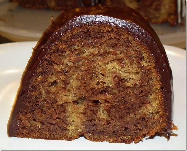 Dark Chocolate Banana Swirl Bundt Cake