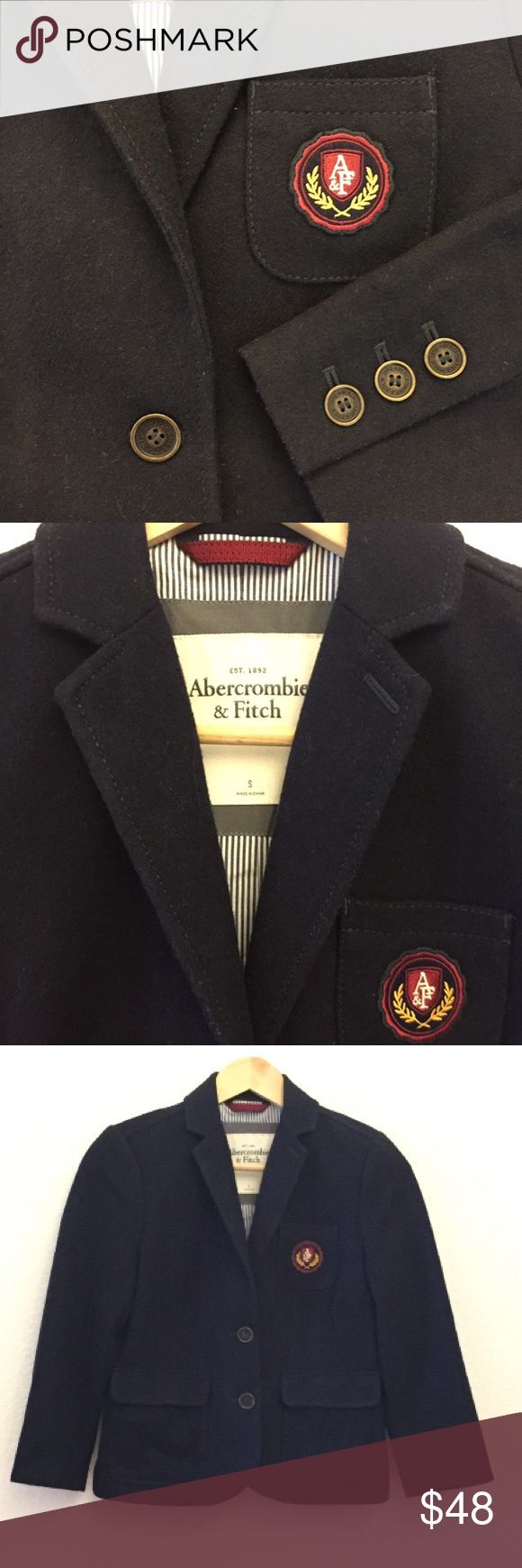 "Abercrombie and Fitch Blazer In excellent condition with no stains or tears, notch lapel, two front logo buttons, one front patch fitted with 4 vertical darts, two front patch pockets with flaps, 3/4 sleeves 19"", with three spaced logo buttons, 35"" bust, 22"" length Abercrombie & Fitch Jackets & Coats"