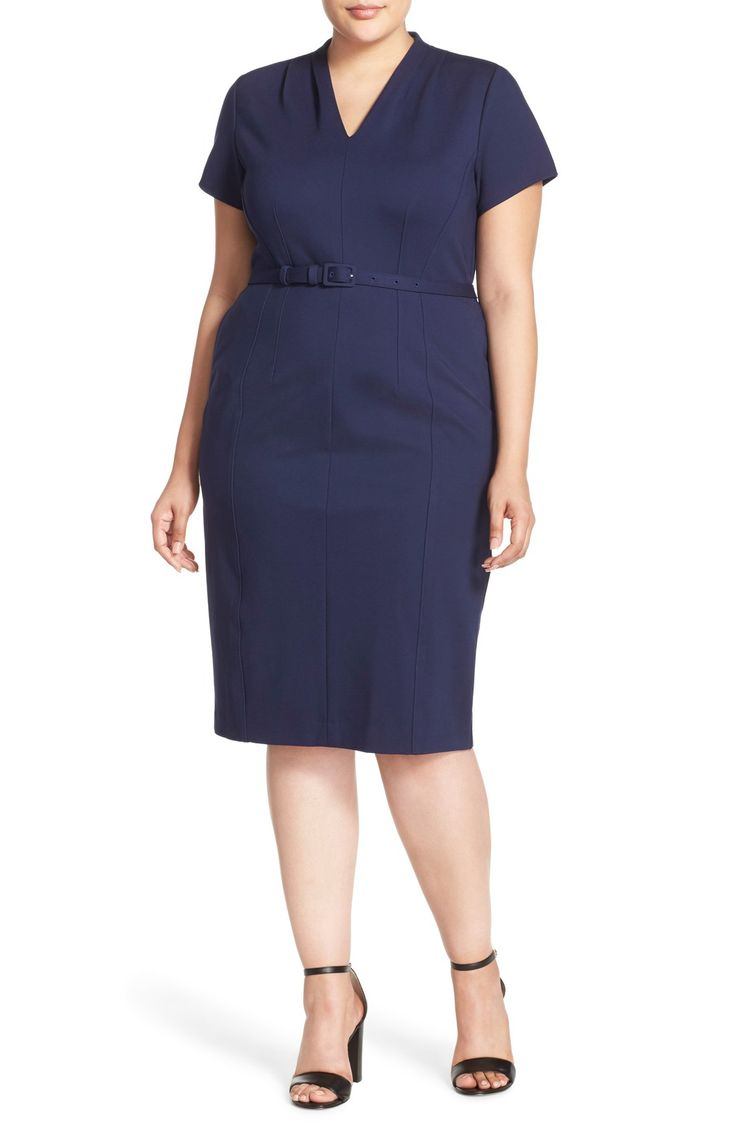 Dresses for apple shaped women - Loooove This Plus Size Ponte Dress For The Office Apple Shape Outfitsapple Body Shapesoffice