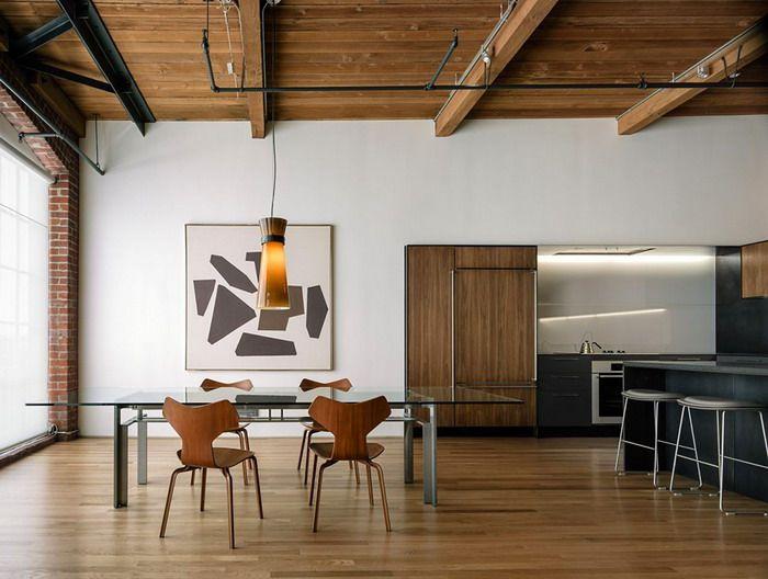 Обеденная зона в квартире  стиле Лофт в Сан-Франциско