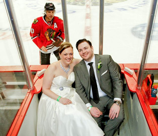2001 BHS grad and professional photographer Ruthie Hauge was behind the camera when Chicago Blackhawk Patrick Sharp photobombed a newly married couple during their reception at the Hawks game on Friday night.  How would you like to have these photos for your wedding album?!?  http://wp.me/p1NGbX-KKI