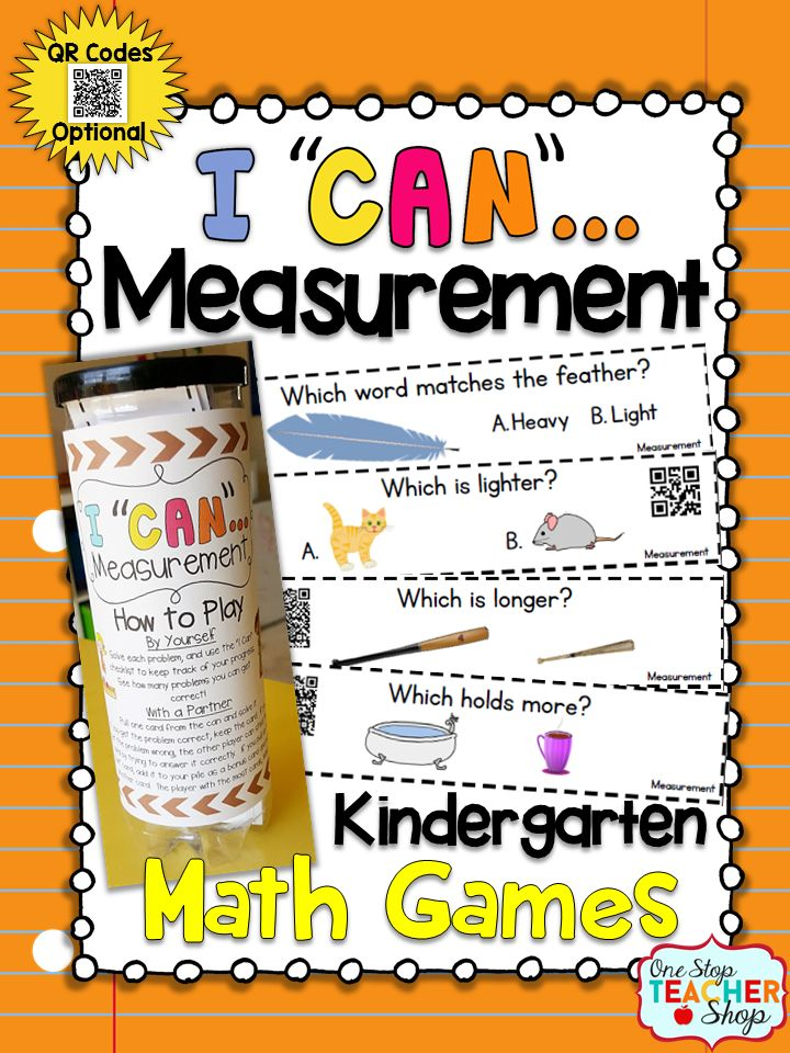 "Kindergarten Measurement: This ""I CAN"" Math game covers all standards for Measurement in Kindergarten. Perfect for Guided Math & Centers {Common Core} With QR codes! Paid"