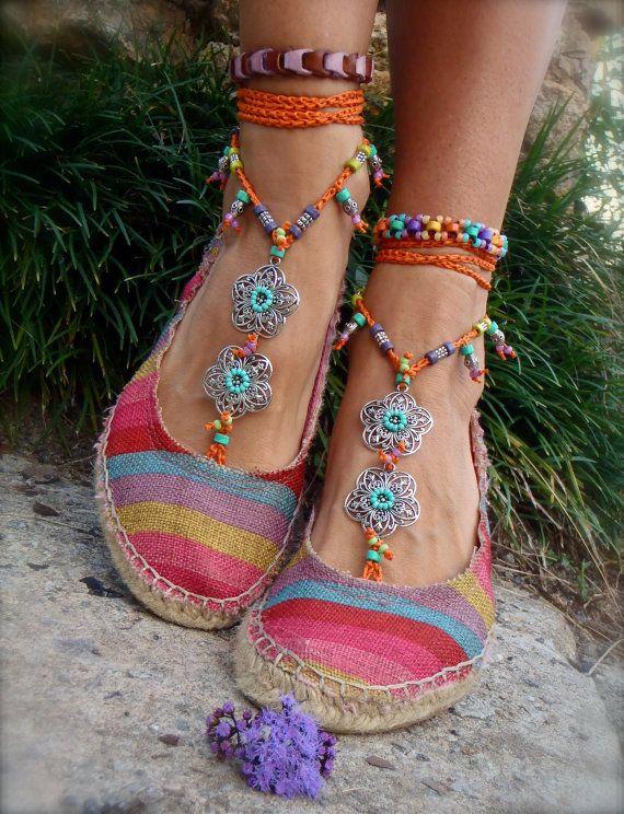 GYPSY summer BAREFOOT Sandals Toe Ankle wraps ORANGE beach wedding rainbow dance bare feet foot jewelry bohemian Toe thongs unique GPyoga