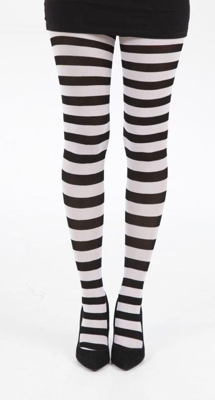 Collants Opaque Rayé Gothique Lolita Punk Noir Blanc