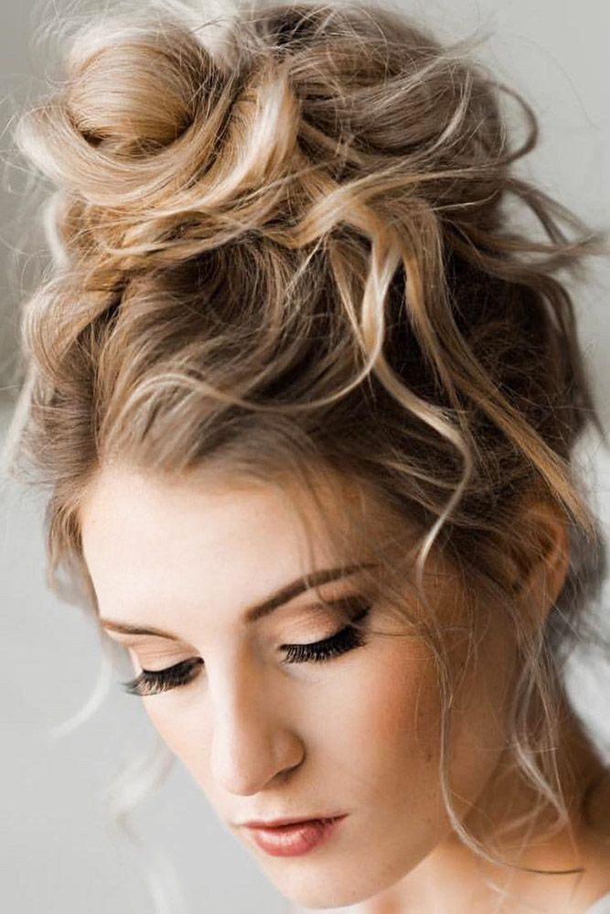 Bridal Hairstyles 30 Enchanting Wedding Updos Wedding Updos High Messy Bun Closen Eyes Headrus Medium Length Hair Styles Long Wavy Hair Hair Styles