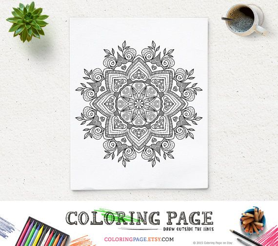 Coloring Page Mandala Printable Floral Pattern Adult Coloring Book Adult Anti Stress Art Therapy Instant Download Zen Digital Printable Art