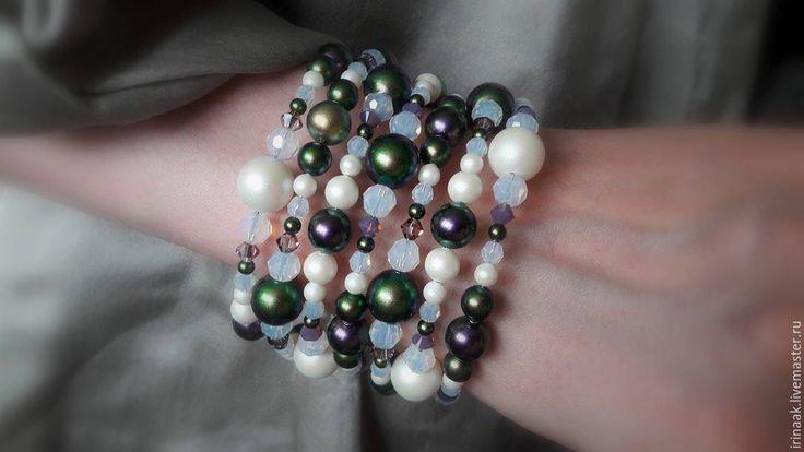 """Купить Браслет""""Хамелеон"""". - комбинированный, браслет, жемчужный браслет, scarabeus green, pearlescent white, смотрите описание"""