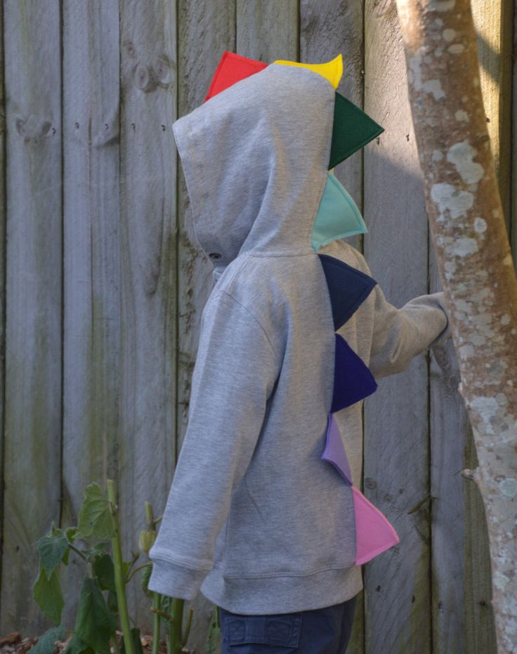 DINOSAUR HOODIE in Grey with RAINBOW spikes - size 4 by TheOwlandStar on Etsy