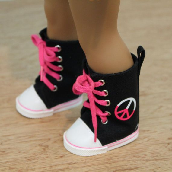 "Peace High Tops | to fit American Girl 18"" Doll Tennie shoes 