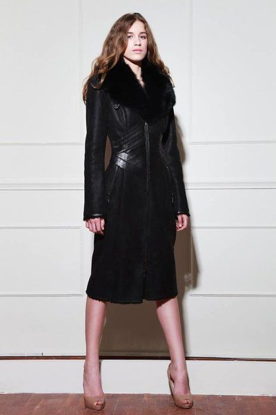 Women's Long Leather-Trimmed Shearling with Fox Collar www.danubeshearlings.com #DanubeShearlings #Shearling #Coat #Outerwear #Luxury #CraveTheCold #Fashion #Style #Fall2016 #WinterWear