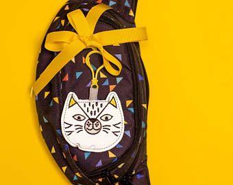 Reflective bag charm animal cat for your bag, backpack, belt bag. Road safety bag keychain, fabric toys for kids & teens