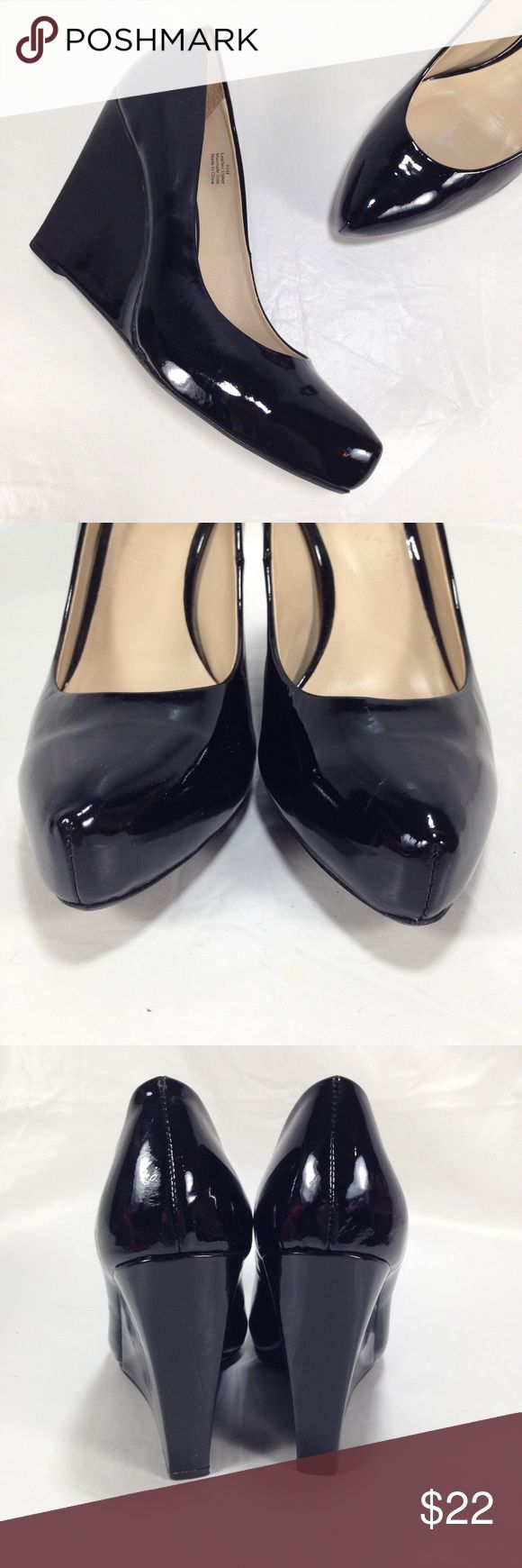 Halogen Patent Leather Wedes Black patent leather. Great condition! Halogen Shoes Wedges