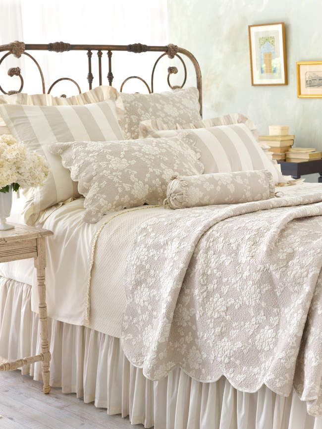 Pine Cone Hill Madeline Cafe Au Lait Floral & Striped Quilts & Shams @ J Brulee Home