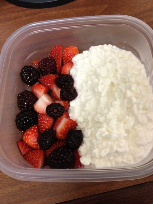 I love the idea of cottage cheese and berries for a snack at work