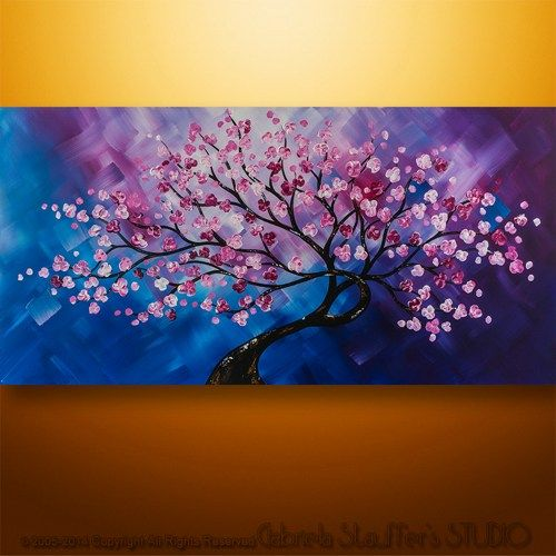 Abstract Painting Abstract Modern Landscape Tree Palette Knife Art | AbstractStudio - Painting on ArtFire