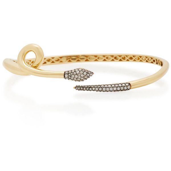 Sorellina 18K Gold Diamond Snake Bracelet (15.245 RON) ❤ liked on Polyvore featuring jewelry, bracelets, gold, diamond bangles, gold snake bangle, gold diamond bangle, snake jewelry and diamond jewellery