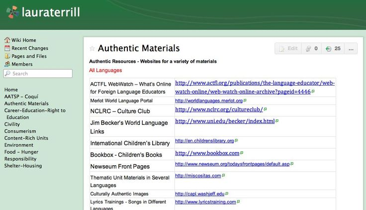 Where to find authentic materials - lists from Laura Terrill's wiki - German, Spanish, French, Chinese