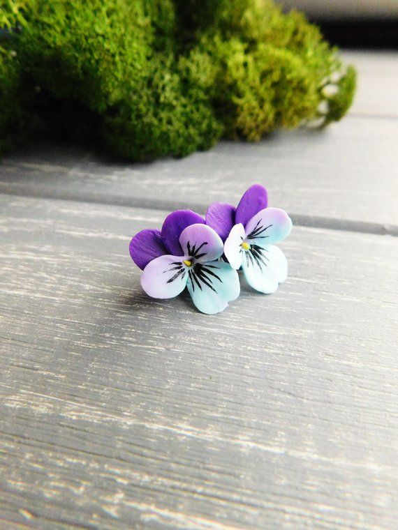 Pansy Stud Earrings Purple Blue Earrings Delicate Studs Flower Etsy Delicate Earrings Blue Earrings Etsy Earrings