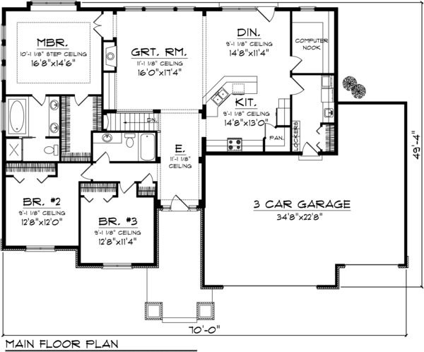 Bungalow Style House Plans   2032 Square Foot Home, 1 Story, 3 Bedroom And  2 3 Bath, 3 Garage Stalls By Monster House Plans   Plan Love Designated ...