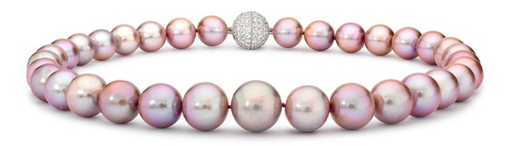 London Pearl freshwater cultured pearls with pave ball clasp
