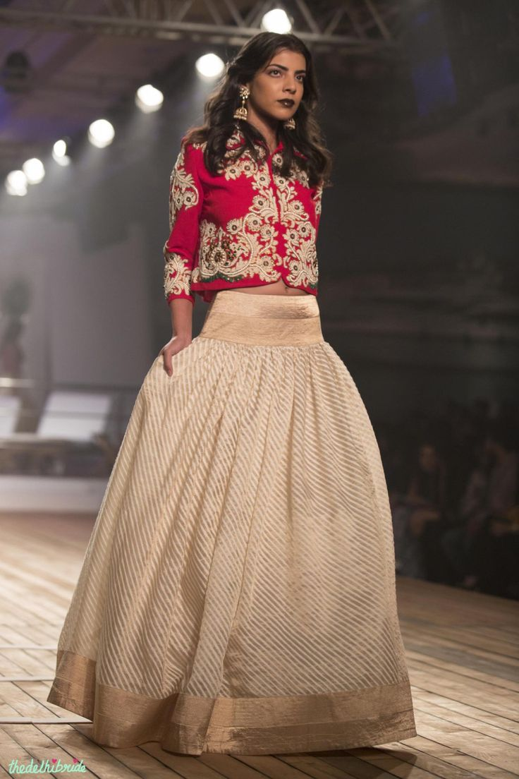 Gold & ivory striped Silk Lehenga with Embroidered Earthy Red Jacket - Monisha Jaisingh - Amazon India Couture Week 2015