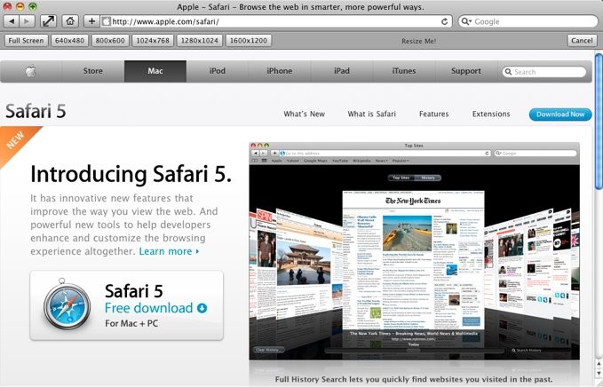 ResizeMe is a safari extension that allows you to change the size of your browser window with just a few simple clicks.